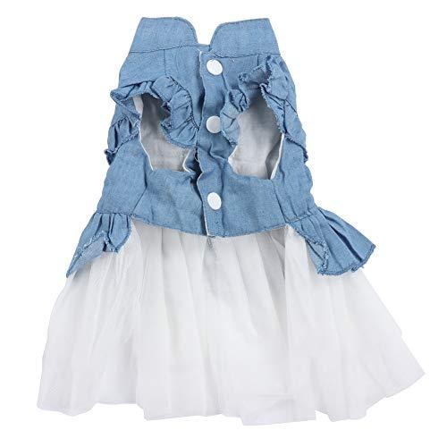 Frühling Sommer Neue Haustierkleidung koreanische Spitze Jeansrock süße Katze Hund Kleidung Kostüm (blau)(S) Süße Jugend