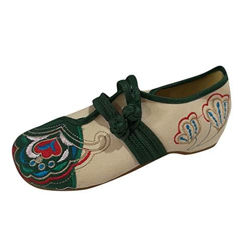 ALIKEEY Eleganti Scarpe da Donna Vintage Ricamate in Cotone Ricamato con Doppie Fibbie Vecchie Scarpe Vintage, Tennis Piattaforma Running Sneakers