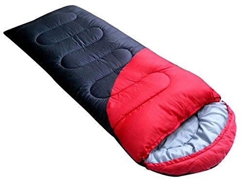 Honeystore Camping & Outdoor 210T Pongé Schlafsack-Deckenschlafsack (190+30)*75 CM Rot und Schwarz