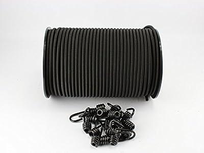 6mm Expanderseil schwarz 20m +20 Spiralhaken Gummiseil Haken Seil Plane