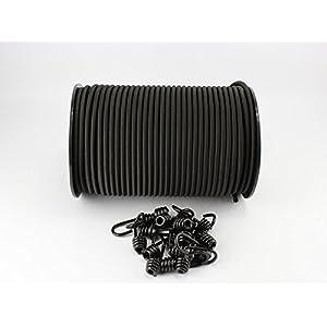 8mm Expanderseil schwarz 20m + 10 Spiralhaken Gummiseil Planenseil Haken Seil
