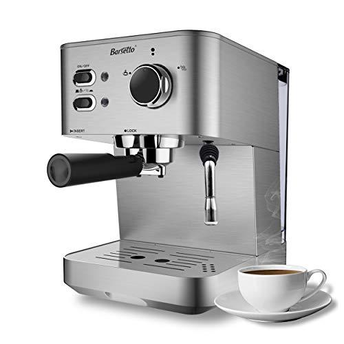Barsetto Espresso Kaffeemaschine Kaffeemaschine 15 Bar Edelstahl Kaffeebrühmaschine mit...
