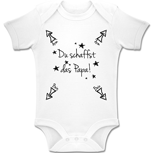 Shirtracer Strampler Motive - Papa du schaffst das - 1-3 Monate - Weiß - BZ10 - Baby Body Kurzarm Jungen Mädchen