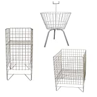 White Square Round Dump Basket Bins Stand Sale Storage Unit Shop Retail Display
