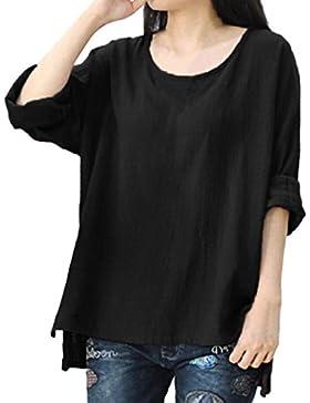 OverDose camisetas blusas manga larga para mujer tops ocasionales flojos suaves tamaño grande L-XXXXL