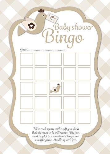 Ezstickers Baby Dusche Bingo Spiel Karten, neutral Karo Design, 16Stück, Spaß Party Spiel