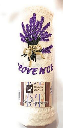 Coton Blanc Geschirrtuch Provence Bouquet de Lavendel, Farbe: Ecru - hochwertige Qualität - Material: 100% Baumwolle - Biene - 50 x 70 cm - Lavendel Geschirrtücher