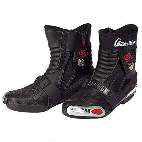 Katurn Botas Diseño Profesional para Motocicletas Cuatro Estaciones Ciclismo De Carretera Botas De Carrera Botas Cortas Zapatos De Montar (Tamaño: Negro 42)