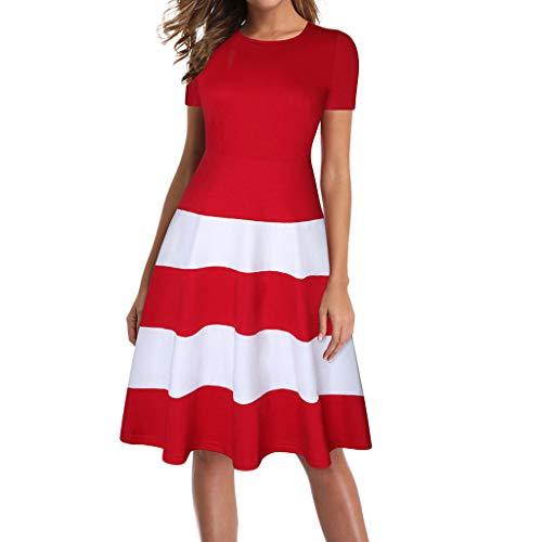 Solide Geraffte Kleid (QinMM Womens Sommer Casual Circle Kragen Streifen Solide geraffte Kurzarm T-Shirt Midi-Kleid)