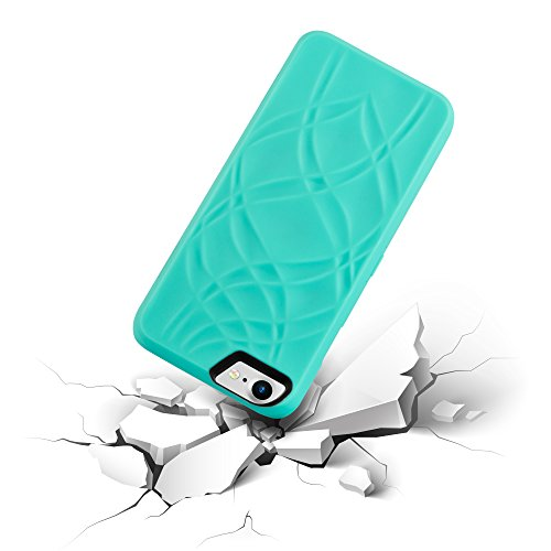 Cadorabo - Hard Cover per Apple iPhone 7 con Motivo, Specchio e 3 Vani di Carte - Case Cover Involucro Bumper Accessorio in TURCHESE TURCHESE