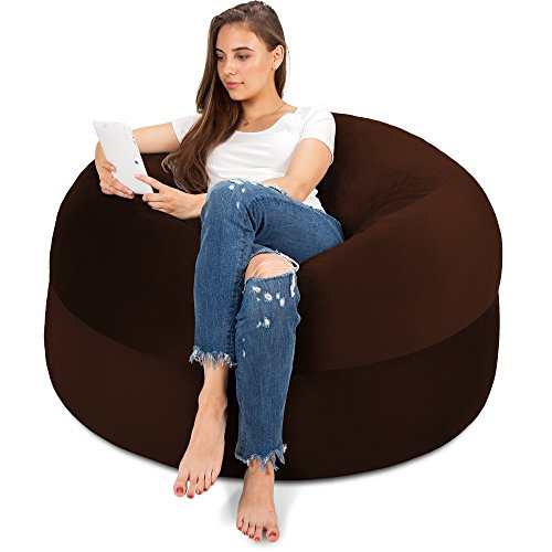 XXL Bean Bag Chair in Espresso - Big Velour Comfort Cover with Memory Foam Filler - Gigantic Bed, Large Sofa, Cozy Lounger, Chill Mattress - Kids, Adults & Teens Love This Huge Sack Panda Sleep