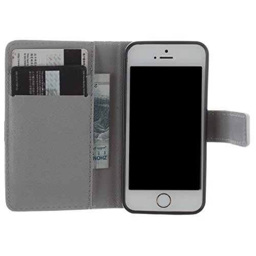 CaseLike Colored disegno Premium PU Pelle Flip Custodia Protettiva Case Cover Per Apple iPhone 5 5S Wallet con Card Slots & Cash Scomparto, Supporto dual Shell iphone55s#1 iphone55s#15