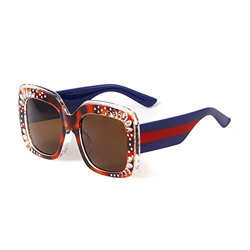 SYQA Sonnenbrille Weinlese-quadratische Sonnenbrille-Frauen-Mann-Retro- große Rahmen-Brillen die meiste populäre Sonnenbrille,C2