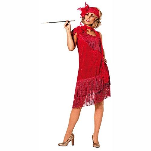 PARTY DISCOUNT NEU Damen-Kostüm Charleston de Luxe, rot Gr. 46