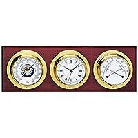 BARIGO Weather Station w/Ship's Barometer, Comfortmeter & Quartz Ship Clock - Brass & Mahogany - 3.3 Dial by Barigo