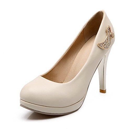 Senhoras Allhqfashion Pu Reinziehen Para Cerca Perto Stiletto Toe Bombas De Creme De Sapatos