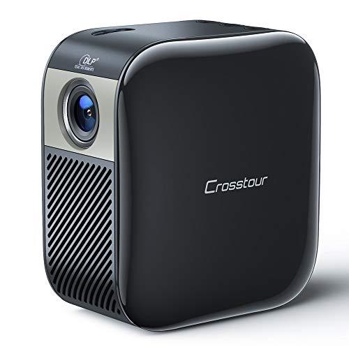 Mini Beamer, Crosstour Full HD 1080P Projektor DLP Taschen Video Beamer für 3000 mAh Außen Batterien Unterstützt Heimkino Projector für HDMI / Laptop / iOS / Android