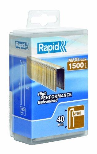 Rapid, 5000127, Agrafes N°90, Longueur 40mm, 1500 pièces, Fil galvanisé enduit de résine, Haute performance