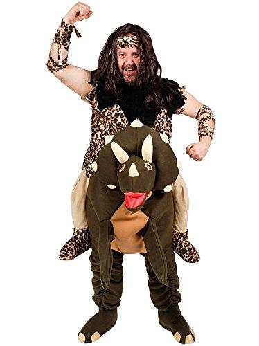 Höhlenmensch mit Dino Huckepack Kostüm - Lustiges Spaßkostüm Steinzeit Verkleidung