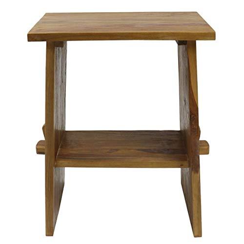 Waschtisch ? Waschbeckenunterschrank Tisch Badmöbel Badezimmermöbel ? Teakholz Hellbraun 60 cm ? ideal für Naturstein Aufsatzbecken