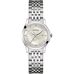 Bulova Ladies Women's Designer Diamond Watch Bracelet - Stainless Steel Mother Of Pearl Wrist Watch 96S160