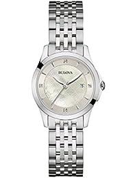Bulova Ladies Women's Designer Diamond Watch Bracelet - Stainless Steel  Mother Of Pearl Wrist Watch 96S160