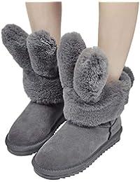 OSYARD Damen Hasen Ohren Schneestiefel Halbschaft Stiefel Wildleder Flache  Sole Stilvolle Faltbare Kaninchen Winter Schuhe Plüsch 1c4a94d09a