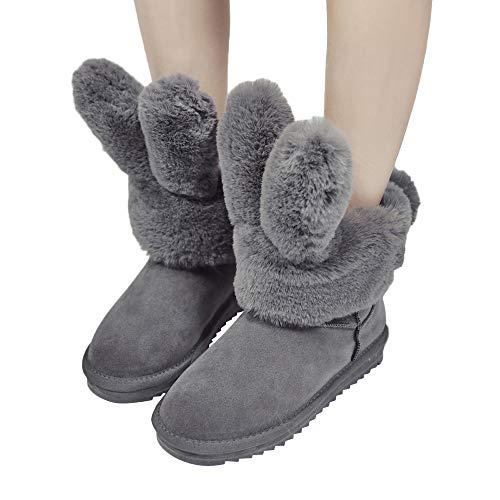 Bellelove〗 Schneeschuhe Weibliche Hasenohren, Mode Faltbare Kaninchen Ohrenschützer Weibliche Winterstiefel in der Röhre warme Rutschfeste Winter Plüsch Stiefel Baumwolle Schuhe