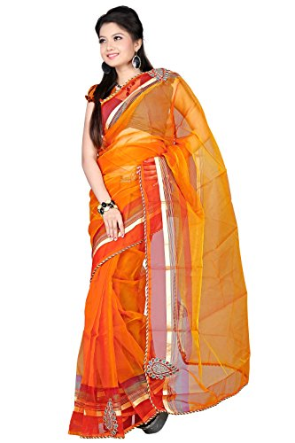 Florence Orange Tissue Embroidered Saree
