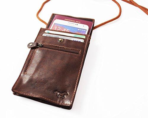 Safekeepers - Brustbeutel - Brusttasche - Brustbeutel Leder - Reisegeldbeutel - Brustbeutel RFID in Schwarz mit zuverlässiger RFID Schutztechnologie Braun