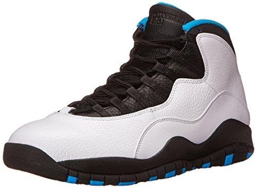 Nike Air Jordan Retro 10, Scarpe da Fitness Uomo Bianco/blu/nero (White / Dk Powder Blue-Black)