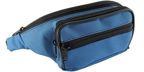 Vita Bum Cintura soldi passaporto credito borsa Fanny Hip lombare Pack Outdoor Sport Escursionismo Festival Vacanze Viaggio 4tasche con cerniera Unisex Coach Borsa marsupio cintura regolabile blu blue