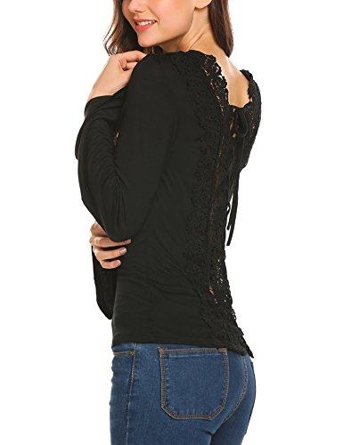 Beyove Damen Langarmshirt Asymmetrisch Sweatshirt Pullover Hemd Bluse  Oberteil mit Spitze (C)Schwarz