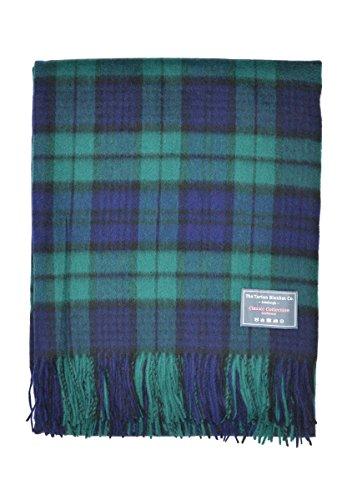 The Tartan Blanket Co. Lammwolldecke Schoßgröße Schottenmuster Black Watch - Black Watch Plaid Wolle