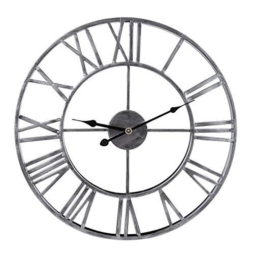 ZUJI Wanduhr Vintage, 50cm Wanduhr Groß XXXL Wanduhr Lautlos Wanduhr Ohne Tickgeräusche Wanduhr Dekorative für Küche Wohnzimmer Schlafzimmer (Silber 50cm)