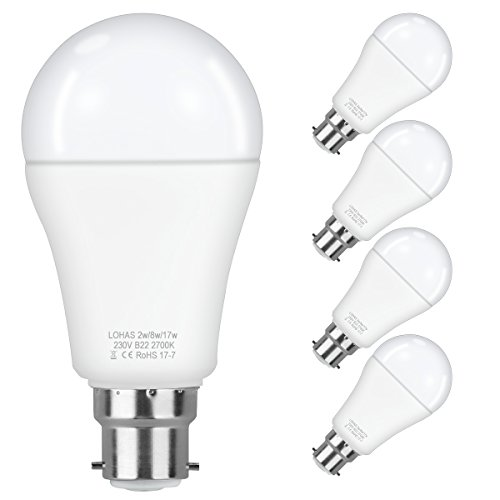 4er Pack LOHAS Szene Schalter LED Leuchtmittel, B22Bajonettsockel 3Stufen dimmbar, natürliches Licht, gemütlicheres Licht, 17W-8W-2W Eingangsleistung, warm weiß 2200–2700K (Natürliche 17)