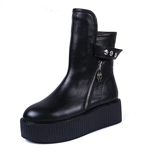 RoseG Mujer Zapatos Punk Creepers Plataforma Botas Black Negro...