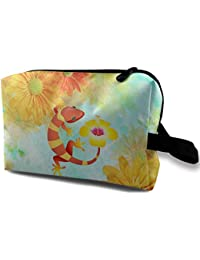 3bf2d3ab4c540 Gecko Lizard Hibiscus Flowers Travel Bag Multifunction Portable Toiletry  Bag…