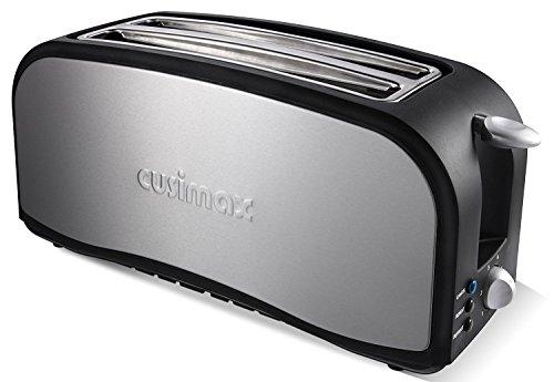 Cusimax 1.400 Watt Automatik-Toaster, Edelstahl Toaster Langschlitz 4 Scheiben, Doppelschlitz Brotröster Aufwärmen, CMST-140