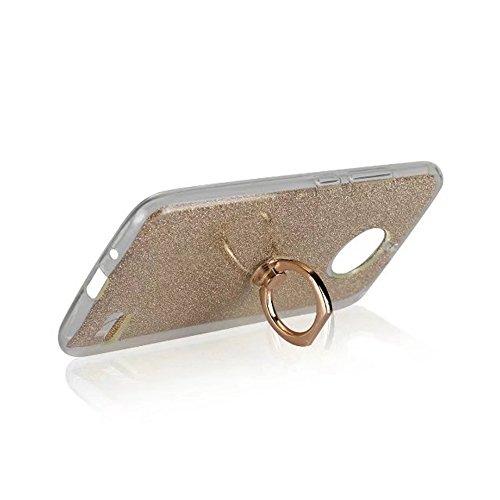 EKINHUI Case Cover Soft Flexible TPU Back Cover Case Shockproof Schutzhülle mit Bling Glitter Sparkles und Kickstand für MOTO E4 ( Color : Black ) Gold