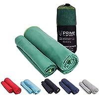 PRIME ART WOOD® Mikrofaser Handtücher im 2er Set mit Tragetasche (140cm x 70cm & 80cm x 40cm)
