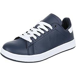 Damen Schuhe, 1137-Y, FREIZEITSCHUHE, SCHNÜRER SNEAKERS, Synthetik in hochwertiger Lederoptik , Blau, Gr 39