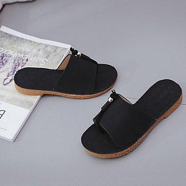 LQXZM La femme Chaussons & amp; tong sandales Printemps Été PU Confort Talon plat décontracté Kaki Vert Noir Télévision Black