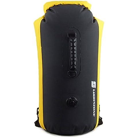 luckystone Outdoor 25L 35L 60L Dry Bag Sacco Impermeabile Galleggiante Borsa per barca, kayak, pesca, Rafting, Nuoto, Campeggio, canoa, nero, 25 l