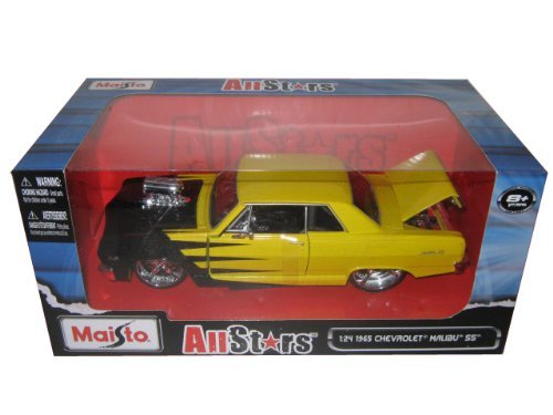 1965-chevrolet-malibu-ss-yellow-with-black-all-stars-1-24-by-maisto-31138-by-maisto