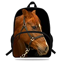 VEEWOW 16-Inch Brown Horse Backpack for Boys Girls Animals Bag (D1084)