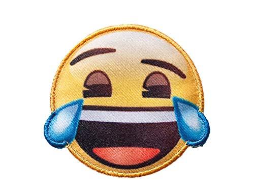 by gedeacc-kreativ Sticker Bügelbild Aufnäher Patch Applikation zum Aufbügeln Emoji © Lachen mit Tränen 5,5 cm