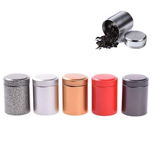 EORTA 5 Stück Teekiste Aufbewahrungsbox, Kleine Zylinder Schöne Metallbox, Versiegelte Dosen Kaffee Teekanne Container, Outdoor, Home Storage -