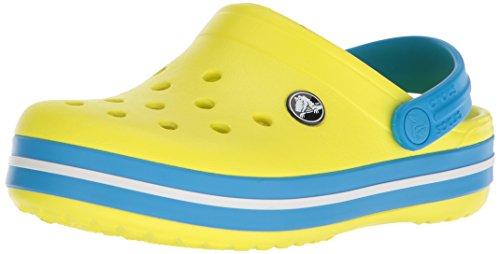 Crocs Crocband Clog K, Zoccoli Unisex-Bambini, Giallo (Tennis Ball Green/Ocean 73e), 28/29 EU