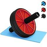 Reehut Roue Abdominal Wheel Roue de Fitness avec Tapis Epais pour Musculation Ventrale Genou Roues Jumelées Rouge